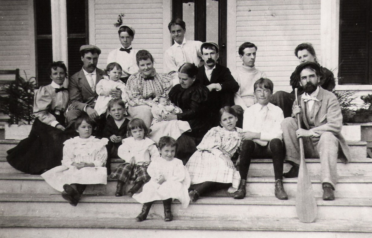 The Douglas Family, 1897. Back row: Alexander Douglas, Frederick Douglas. Middle row: Ida and Edwin Baker, Robina Baker, Florence Read, Mary Douglas holding Douglas Read, George Ellery Read, Edward Douglas, Douglas Weir, Robert Stanley Weir, Margaret Weir. Front Row: Winnifred Weir, Reg Baker, Alex Baker, Marjorie Weir, Beatrice Weir