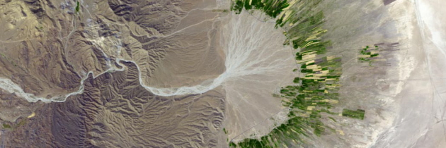 river in Iranian desert, NASA photo